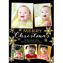 Christmas Photo Cards 5x7 Cards, Premium Cardstock 120lb with Elegant Corners, Card & Stationery -Christmas Gold Snowflakes