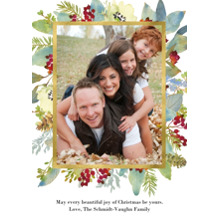 Christmas Photo Cards 5x7 Cards, Premium Cardstock 120lb with Rounded Corners, Card & Stationery -Watercolor Greenery