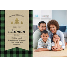 Christmas Photo Cards 5x7 Cards, Premium Cardstock 120lb with Rounded Corners, Card & Stationery -Holiday Plaid