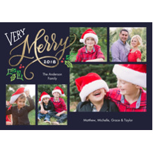 Christmas Photo Cards 5x7 Cards, Premium Cardstock 120lb with Elegant Corners, Card & Stationery -Christmas 2018 Very Merry by Tumbalina