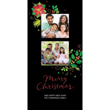 Christmas Photo Cards 4x8 Flat Card Set, 85lb, Card & Stationery -Poinsettia On Black