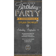 Birthday Party Invites 4x8 Flat Card Set, 85lb, Card & Stationery -Birthday Party Chalkboard