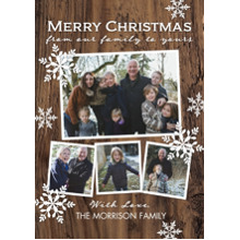 Christmas Photo Cards 5x7 Cards, Premium Cardstock 120lb with Elegant Corners, Card & Stationery -Christmas Wintery Wood Flakes
