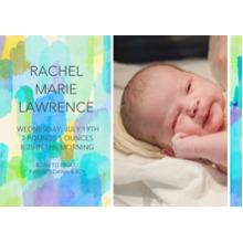Baby Announcements 5x7 Cards, Premium Cardstock 120lb with Scalloped Corners, Card & Stationery -Paint Stroke Sunrise