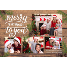 Christmas Photo Cards 5x7 Cards, Premium Cardstock 120lb with Elegant Corners, Card & Stationery -Christmas Rustic Pine Branches Collage