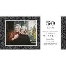 Anniversary Invitations Flat Glossy Photo Paper Cards with Envelopes, 4x8, Card & Stationery -Anniversary 50 Years Damask