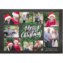 Christmas Photo Cards 5x7 Cards, Premium Cardstock 120lb with Elegant Corners, Card & Stationery -Christmas Green Wreath
