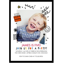 Birthday Party Invites 5x7 Cards, Premium Cardstock 120lb with Scalloped Corners, Card & Stationery -Birthday Party Doodles Invitation