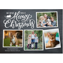 Christmas Photo Cards 5x7 Cards, Premium Cardstock 120lb with Elegant Corners, Card & Stationery -Chritmass Meowy Script Collage