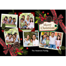Christmas Photo Cards 5x7 Cards, Premium Cardstock 120lb with Elegant Corners, Card & Stationery -Christmas Tag Pine Cones 5 Photo