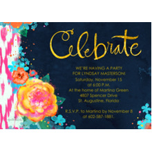 Birthday Party Invites 5x7 Cards, Premium Cardstock 120lb with Scalloped Corners, Card & Stationery -Bold Floral Celebrate