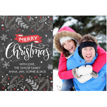 Christmas Photo Cards 5x7 Cards, Premium Cardstock 120lb with Elegant Corners, Card & Stationery -Christmas Red Banner by Tumbalina