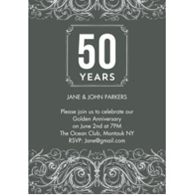 Anniversary Invitations 5x7 Cards, Standard Cardstock 85lb, Card & Stationery -Anniversary 50 Years Swirls Photo