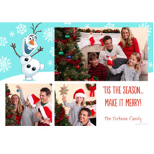 Christmas Photo Cards 5x7 Cards, Premium Cardstock 120lb with Rounded Corners, Card & Stationery -Olaf & Snowflakes - Frozen