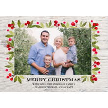 Christmas Photo Cards 5x7 Cards, Premium Cardstock 120lb with Elegant Corners, Card & Stationery -Christmas Rustic Floral