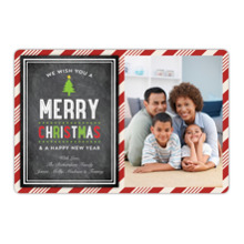 Christmas Photo Cards 5x7 Cards, Premium Cardstock 120lb with Elegant Corners, Card & Stationery -Christmas Striped Frame