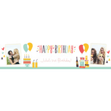 Birthday Photo Banner 2x8, Home Decor -Retro Shindig