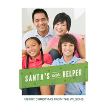 Christmas Photo Cards 5x7 Cards, Premium Cardstock 120lb with Rounded Corners, Card & Stationery -Santa's Little Helper
