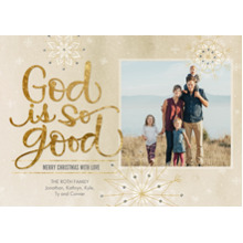 Christmas Photo Cards 5x7 Cards, Premium Cardstock 120lb with Rounded Corners, Card & Stationery -God Is So Good Snowflakes by Hallmark