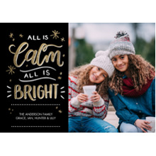 Christmas Photo Cards 5x7 Cards, Premium Cardstock 120lb with Scalloped Corners, Card & Stationery -Christmas All is Calm Script