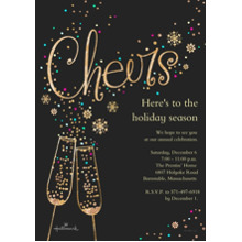 Christmas Party Invitations 5x7 Cards, Premium Cardstock 120lb, Card & Stationery -Gold Cheers Invitation