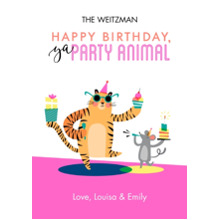 Birthday Greeting Cards Flat Glossy Photo Paper Cards with Envelopes, 5x7, Card & Stationery -Happy Birthday Party Animal