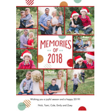 Christmas Photo Cards 5x7 Cards, Premium Cardstock 120lb with Rounded Corners, Card & Stationery -Memories of 2018 Dots