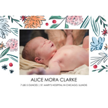 Baby Announcements 5x7 Cards, Premium Cardstock 120lb with Scalloped Corners, Card & Stationery -Friendly Flowers