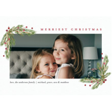Christmas Photo Cards 5x7 Cards, Premium Cardstock 120lb with Rounded Corners, Card & Stationery -Christmas Evergreen Berries