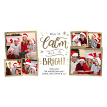 Christmas Photo Cards 4x8 Flat Card Set, 85lb, Card & Stationery -Christmas All is Calm Gold
