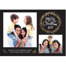 Christmas Photo Cards 5x7 Cards, Premium Cardstock 120lb with Elegant Corners, Card & Stationery -Christmas 2017 Woodgrain