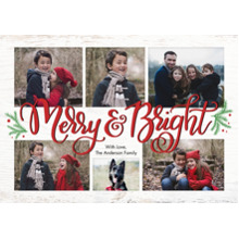 Christmas Photo Cards 5x7 Cards, Premium Cardstock 120lb with Rounded Corners, Card & Stationery -Christmas Merry & Bright Collage