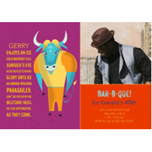 Birthday Party Invites 5x7 Cards, Premium Cardstock 120lb, Card & Stationery -Animal Personality BBQ Bull