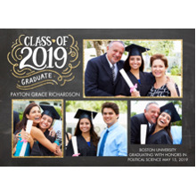 2019 Graduation Announcements 5x7 Cards, Premium Cardstock 120lb with Scalloped Corners, Card & Stationery -2019 Class of Hand Lettered by Tumbalina