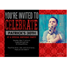 Birthday Party Invites 5x7 Cards, Premium Cardstock 120lb with Elegant Corners, Card & Stationery -Red & Black Celebration Icons