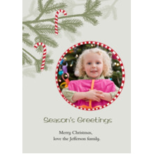 Christmas Photo Cards 5x7 Cards, Premium Cardstock 120lb with Scalloped Corners, Card & Stationery -Candy Cane Ornaments