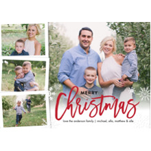 Christmas Photo Cards 5x7 Cards, Premium Cardstock 120lb with Rounded Corners, Card & Stationery -Christmas Red Script Snowflakes by Tumbalina