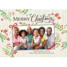 Christmas Photo Cards 5x7 Cards, Premium Cardstock 120lb with Rounded Corners, Card & Stationery -Christmas Rustic Floral Frame 1photo