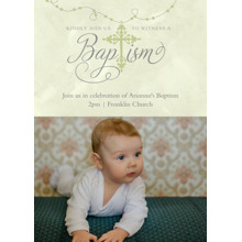 Christening + Baptism Flat Glossy Photo Paper Cards with Envelopes, 5x7, Card & Stationery -Subdued Rosary