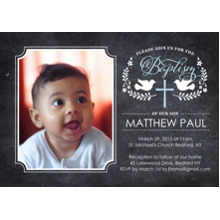 Christening + Baptism Flat Matte Photo Paper Cards with Envelopes, 5x7, Card & Stationery -Baptism Doves with Cross