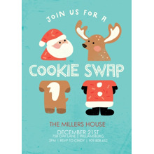 Christmas Party Invitations 5x7 Cards, Premium Cardstock 120lb with Scalloped Corners, Card & Stationery -Santa & Reindeer Cookie Swap