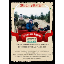 Birthday Party Invites 5x7 Cards, Premium Cardstock 120lb with Scalloped Corners, Card & Stationery -Ahoy Matey!