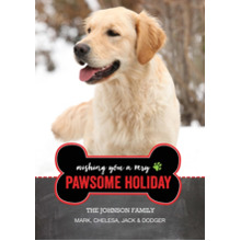 Christmas Photo Cards 5x7 Cards, Premium Cardstock 120lb with Elegant Corners, Card & Stationery -Holiday Dog Bone Pawsome