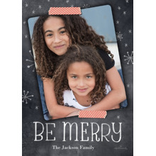 Christmas Photo Cards 5x7 Cards, Premium Cardstock 120lb with Scalloped Corners, Card & Stationery -Chalkboard & Washi Tape