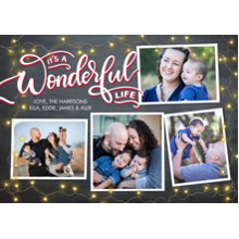 Christmas Photo Cards 5x7 Cards, Premium Cardstock 120lb with Elegant Corners, Card & Stationery -Christmas Wonderful Life Rustic by Tumbalina