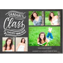 2019 Graduation Announcements 5x7 Cards, Premium Cardstock 120lb with Rounded Corners, Card & Stationery -Graduate Class Swirls 2019 by Tumbalina