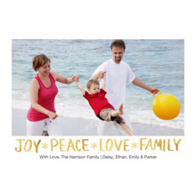 Christmas Photo Cards 5x7 Cards, Premium Cardstock 120lb with Rounded Corners, Card & Stationery -Holiday Joy Peace Love Gold 1 Photo