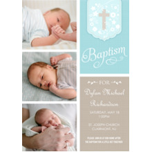 Christening + Baptism Flat Glossy Photo Paper Cards with Envelopes, 5x7, Card & Stationery -Baptism Blue