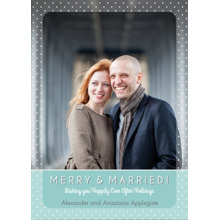 Christmas Photo Cards 5x7 Cards, Premium Cardstock 120lb with Elegant Corners, Card & Stationery -Merry & Married Blue