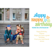 Birthday Greeting Cards Flat Glossy Photo Paper Cards with Envelopes, 5x7, Card & Stationery -Spectacular Starbursts